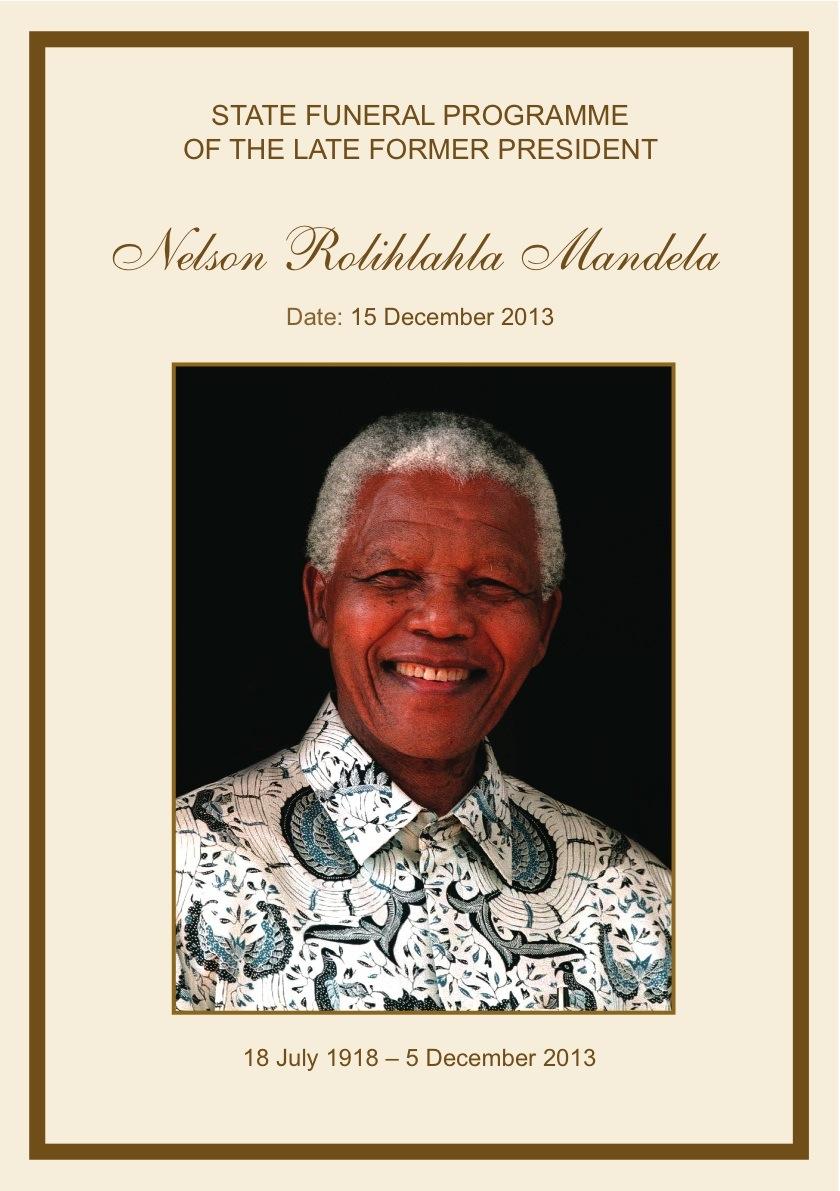 Nelson Mandela Funeral Programme 15th December 2013