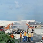 Vehicle explodes at Bahamar construction site – driver ran out of the vehicle