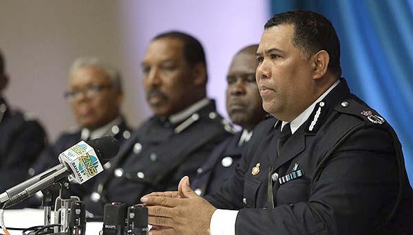 Police Commissioner Ellison Greenslade along with senior officers.