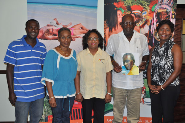Also present during the press conference from left are: Kenneth Christie of Old Bahama Bay and last year's winner; Dahlene Culmer, West End Community Action Network representative; Ms. Smith; Hilton Bowleg, son of James Bowleg; and Nakira Wilchcombe, Snapper Tournament committee member.  (BIS Photo/Andrew Miller)