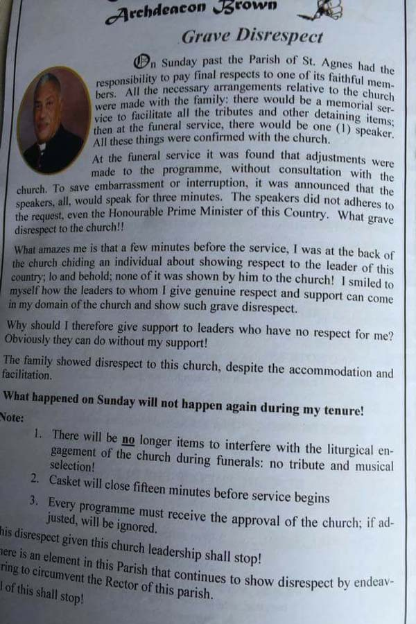 Pastoral Letter published by Archdeacon Brown last year following the funeral of Bismark Coakley.