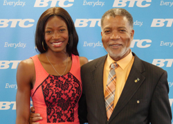 Shaunae Miller and BTC CEO Leon Williams.
