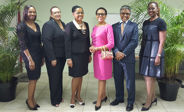 Photo from L  to R: Ms. Carol Aina (Principal of the Norman Manley Law School); Mrs. Miriam Samaru (Principal of the Hugh Wooding Law School); Mrs. Jacqueline Samuels Brown (Principal of the Council of Legal Education); Senator the Hon. Allyson Maynard Gibson Q.C. (Attorney General of The Bahamas); Mr. Reginald Armour SC (President of the Law Association of Trinidad and Tobago); Mrs. Tonya Bastian Galanis (Principal of the Eugene Dupuch Law School).