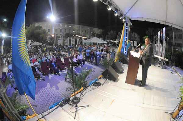 Prime Minister the Rt. Hon. Perry G. Christie brings remarks during a ceremony commemorating the 30th anniversary of the Nassau Accord signing, which was a part of the Caribbean Musik Festival events, held in Rawson Square, Thursday, October 29, 2015.  (BIS photo/Peter Ramsay)