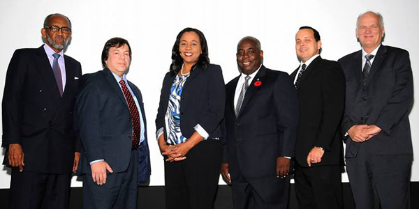 The Deputy Prime Minister and Minister of Works and Urban Development the Hon. Philip Davis is pictured 4th from left at the Second Annual Conference on Ethics and Law Firm Management. Peter Maynard, Head of Law Department/COB/UWI LL.B Programme is also shown 1st from left along with other presenters. (BIS Photo/Kemuel Stubbs)