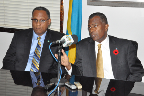 A SERIOUS ISSUE - Minister of Foreign Affairs and Immigration, the Hon. Fred Mitchell, during a press briefing in Freeport on Friday at the Ministry for Grand Bahama, that the matter of $25,000 missing from the Freeport Passport Office is a serious one. Minister Mitchell, who has responsibility for that Department is seen along with the Minister for Grand Bahama, the Hon. Dr. Michael Darville. (BIS Photo/Andrew Miller)