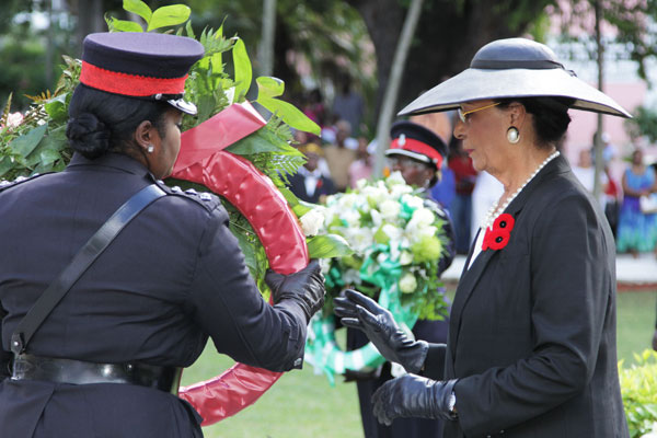 Dame Marguerite lays a wreath at the cenoptaph on Sunday.