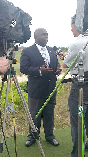 Acting Prime Minister Hon. Philip Brave Davis speaking with the Golf Channel.