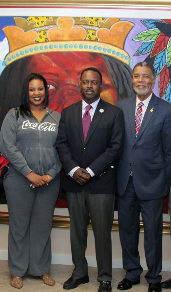 Minister Johnson with Sasha Pratt and Leon Williams