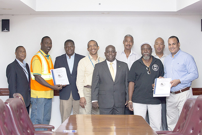 Pictured are: DPM DAVIS, MINISTER HALKITIS, MINISTER KHAALIS ROLLE, CHAIRMAN MILLER, RICARDO MONCUR, Personal Assistant to DPM, GREGORY MILLER, President APEX; JAMES ROLLE, President PROLINE; ROBERT DEAL, Deputy General Manager;GLEN LAVILLE, General Manager