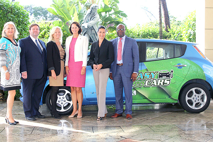 Chamber Energy Forum – The all-electric Nissan LEAF made its official Bahamas debut at the Bahamas Chamber of Commerce and Employers' Confederation Energy Security Forum at the British Colonial Hilton recently. Pictured l-r, Pia Farmer, the island's first LEAF owner, David Allen, American Embassy Political Economic Counselor, Debbie Deal, Chamber director and event chair, Lisa Johnson, Chargé d'Affaires, American Embassy, Suzanne Pattusch, Executive Vice President, Bahamas Hotel and Tourism Association and Edison Sumner, CEO, Bahamas Chamber of Commerce.