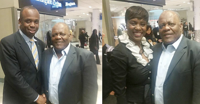 Bahamas Consul General to Atlanta Randy Rolle (left)and Bahamas Vice Consul to Atlanta Monique Vanderpool (right) greets former Bahamas Prime Minister Hubert Ingraham as stopped briefly in Atlanta Wednesday afternoon in transit to Vanuatu for its General Election on January 22, 2016.