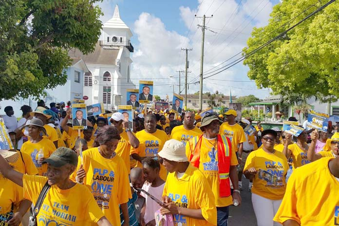 A sea of Bahamians marched with the PLP at the Sir Randol Fawkes Parade Friday.