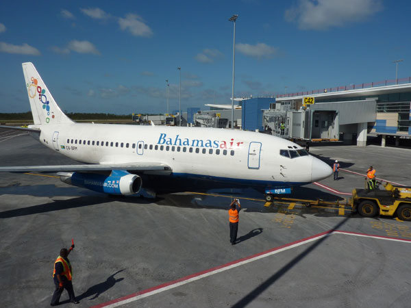 National flag carrier the first airline to test the jet bridges at the new US Departures terminal at LPIA set to open in next month.