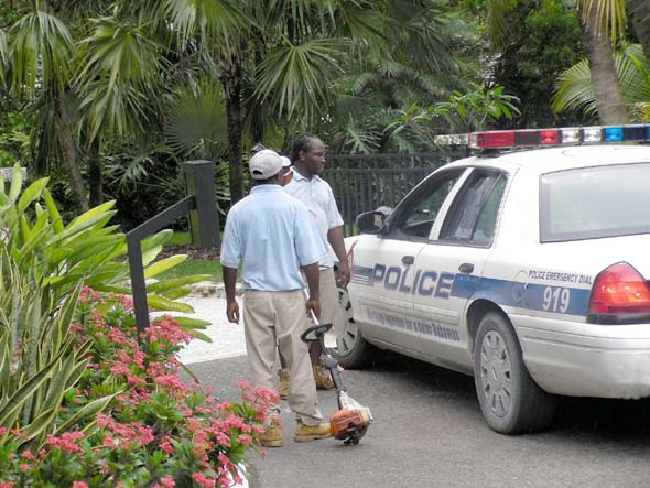 Police in Lyford Cay.