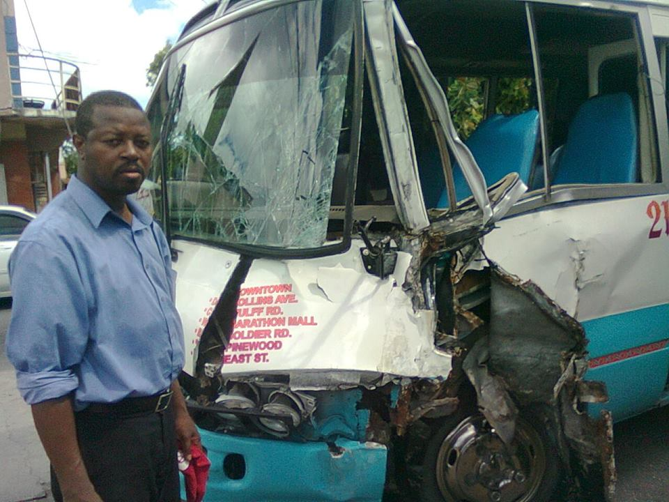 The damanged #21 bus damaged following a drunk driving episode - ARE BUSES SAFE IN THE COUNTRY?! FILE PHOTOS