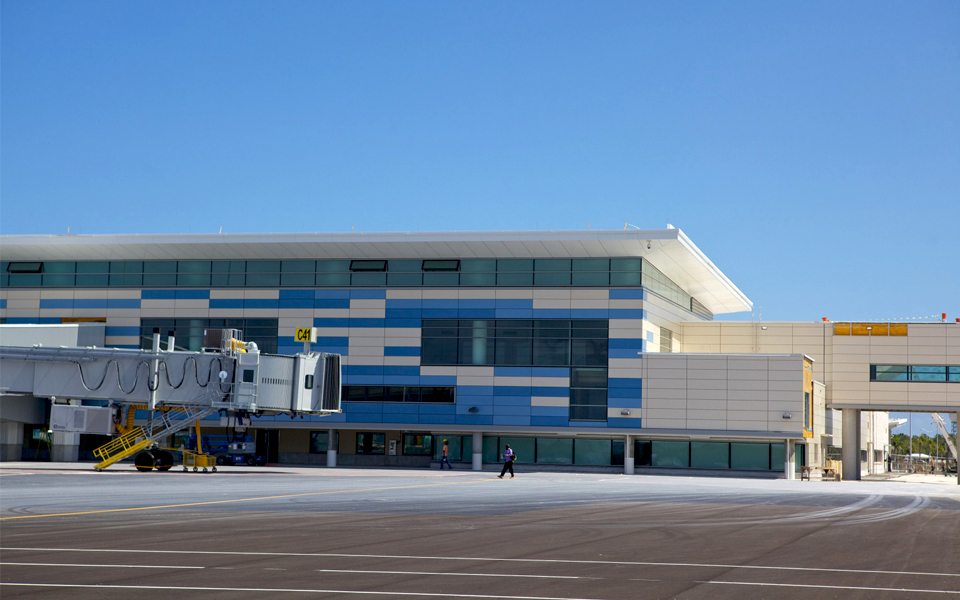 Lynden Pindling terminal building...