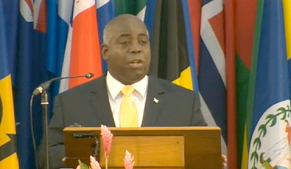 DPM Davis addressing a UN Conference in Samoa on Climate Change.
