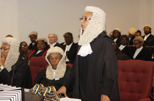 Attorney-General and Minister of Legal Affairs Senator the Hon. Allyson Maynard-Gibson, QC, addresses a special sitting of the Court of Appeal to mark the opening of the Legal Year 2015.