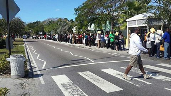 Young qualified Bahamians standing outside Sandals since 7am this morning for a job earlier this year!
