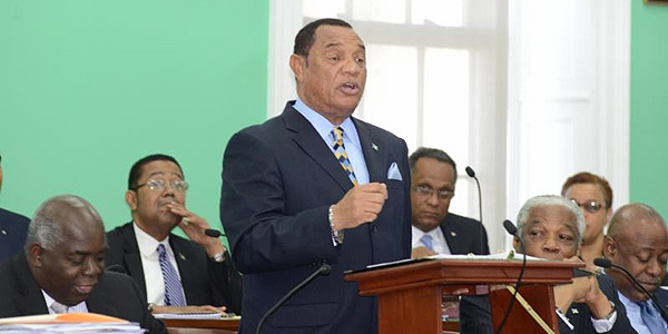 Prime Minister Rt. Hon. Perry Christie delivering this Mid-Year Budget Communication.
