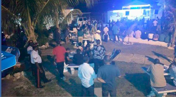 Scores of FNMs outside a DNA meeting on Grand Bahama last night.