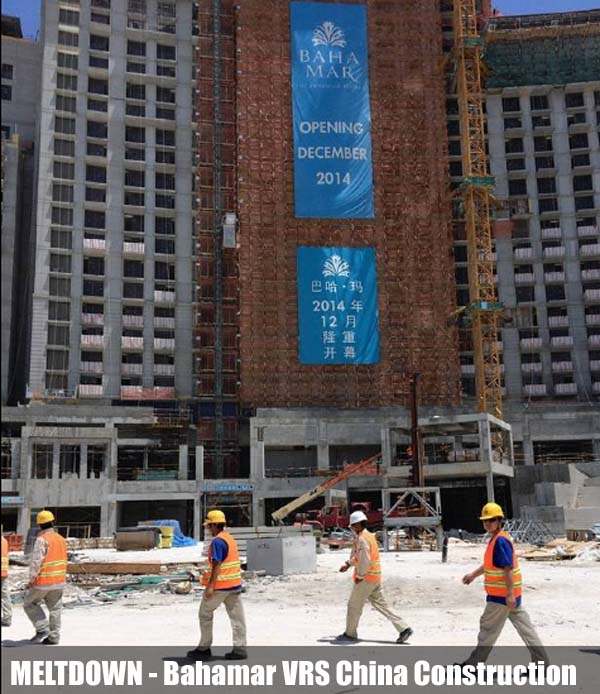 Opening of the new Baha Mar resort on New Providence island in the Bahamas is again delayed. The photo shows construction under way in May. Photo: CRAIG KARMIN/THE WALL STREET JOURNAL