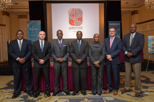 CBL Directors Re-elected – Shareholders returned all directors for another term at Commonwealth Brewery Limited's 4th annual general meeting when the company reported positive performance figures including a 75% hike in share price since the initial public offering in 2011. Pictured Directors l-r, Dennis T. Hanna, Radovan Sikorsky, Eugene Ubalijoro, Julian W. Francis, Cecile S. Williams-Bethel, Hans Neven and Edward A. Fields. (Photo by BVS for DP&A)