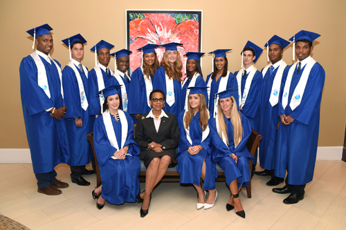 Back Row (left to right): Rasheed Pickstock, Patrick Colle, Chad Strachan, Sean-Ryan Thomas, Amber Aranha, Alyssa Reid, Thema Saunders, Tyler Mattio, Teodoro DeGiuli, Sean Blyden, Luigi Charles,, Front Row (left to right): Vanessa Beschle, Sen. the Hon. Allyson Maynard Gibson, Claire Pico and Lara Cristiano.