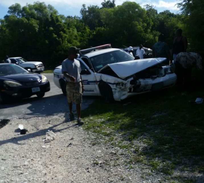 The patrol vehicle in Eleuthera damaged this morning following that accident near Windermere.