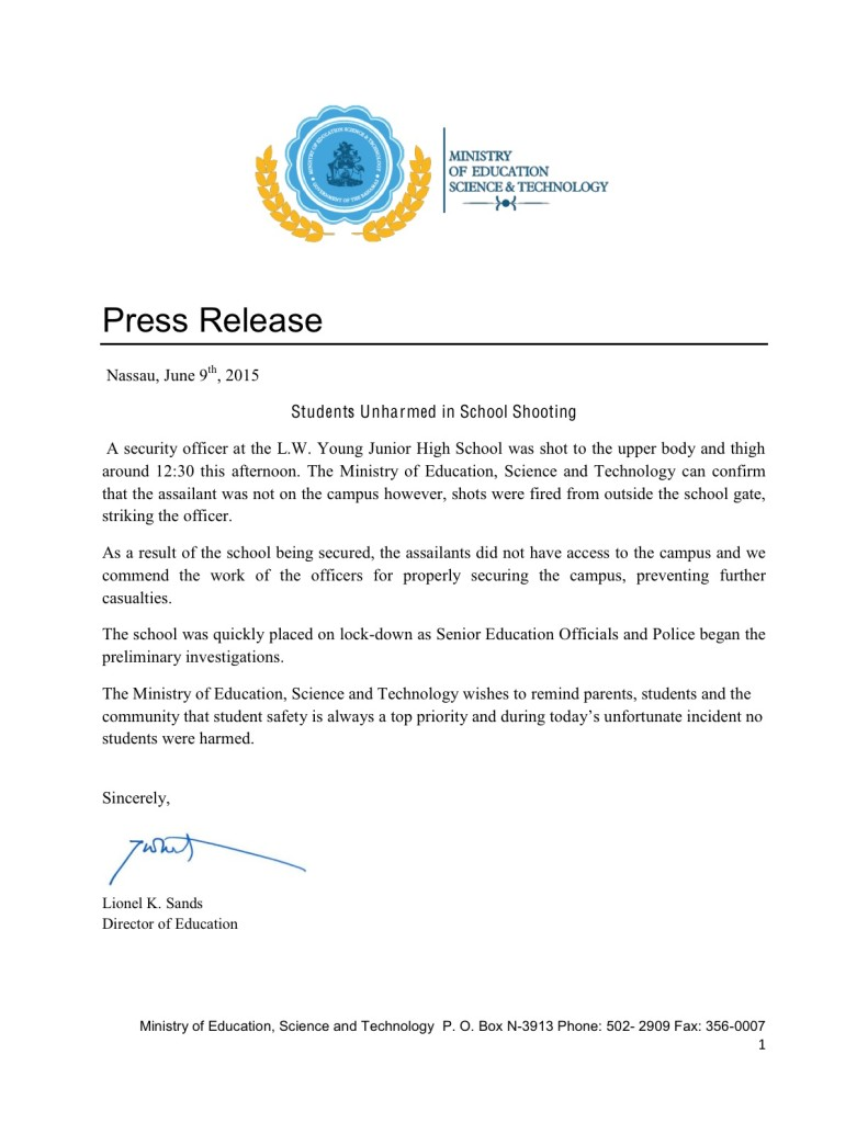 Press Release - Shooting at L.W.Young