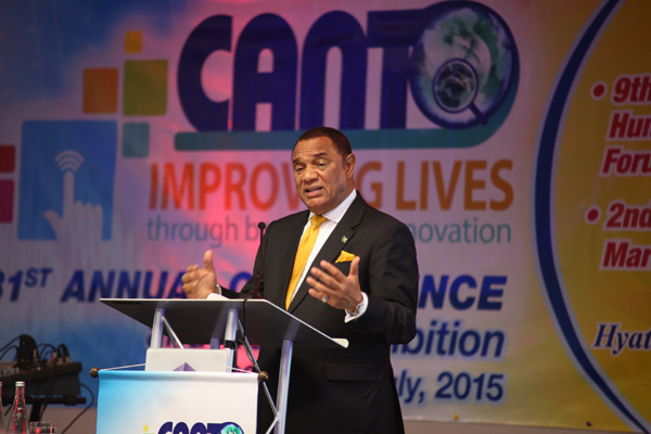 Prime Minister Rt. Hon. Perry G. Christie addressing CANTO.