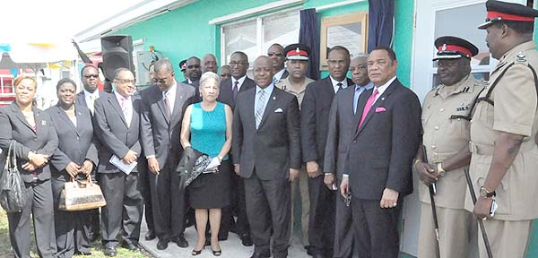 CABINET TEAM – Prime Minister of the Commonwealth of The Bahamas, the Right Honourable Perry Gladstone Christie is pictured with several members of his Cabinet as he participated in the re-opening of the Fire Station at Eight Mile Rock, Grand Bahama, on Tuesday morning. A historic meeting of the Cabinet took place in Grand Bahama, Tuesday, July 28, 2015. (BIS Photo/Vandyke Hepburn)