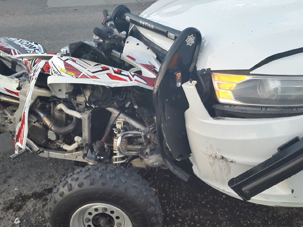 Look at the damage these bikers are causing to needed patrol cars! Just breaking up the country's assets!