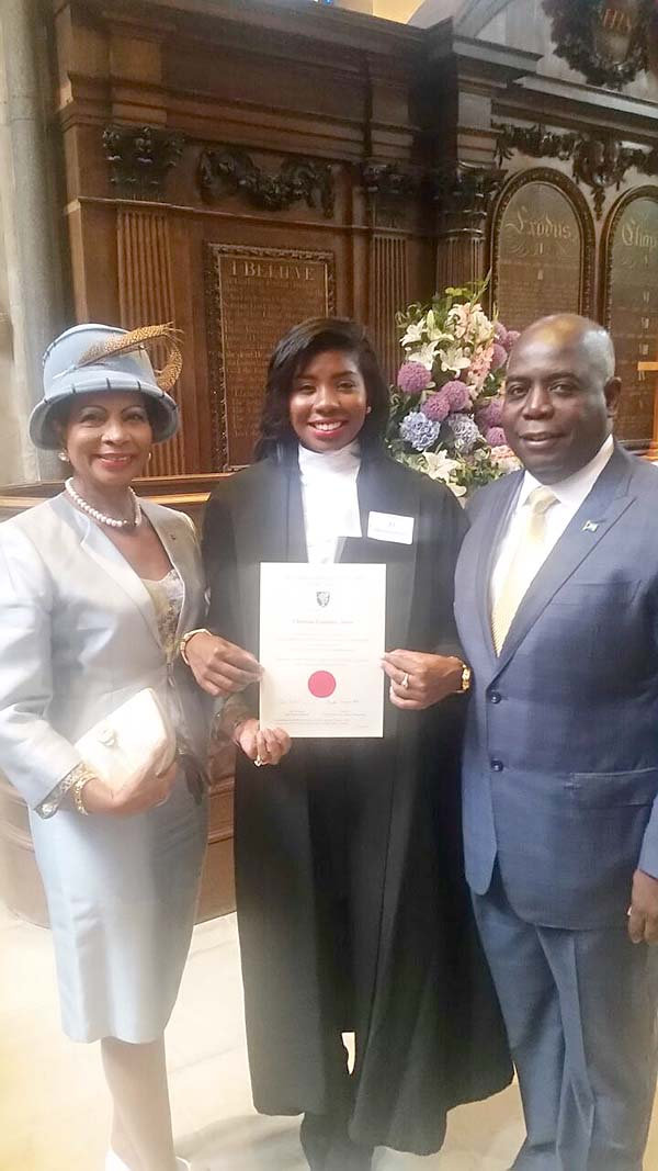 Deputy Prime Minister Philip Brave Davis Q.C. and wife Ann Davis along with [daughter] Christina Davis following her call to the English Bar.