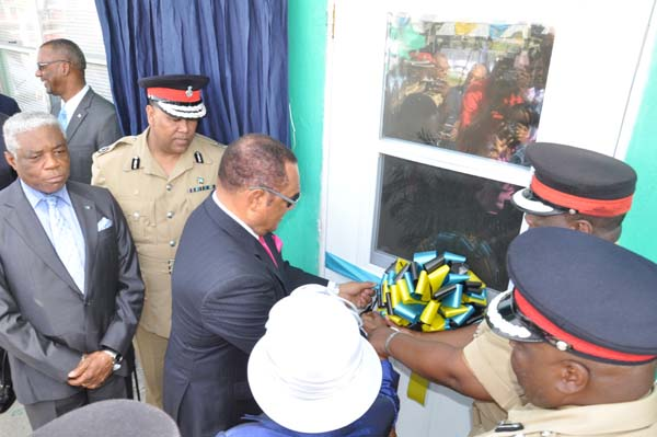 FIRE STATION RE-OPENING – Prime Minister the Rt. Hon. Perry Gladstone Christie is pictured here with National Security Minister the Hon. Dr. Bernard Nottage and Commissioner of Police Mr. Ellison Greenslade at the re-opening of the Fire Station at Eight Mile Rock, Grand Bahama on Tuesday morning.  (BIS Photo/Vandyke Hepburn)