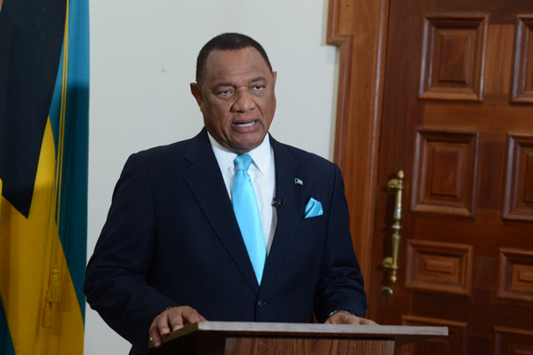 Prime Minister the Rt. Hon. Perry Christie addresses the nation on Baha Mar, July 16, 2015.  (BIS Photo/Peter Ramsay)