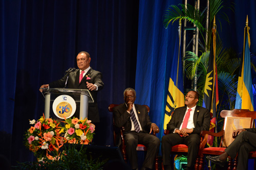 CARICOM Chair, the Rt. Hon. Perry G. Christie addressing the CARICOM 36th Regular Meeting in Barbados, July 2, 2015. (Photo: Peter Ramsay / BIS)