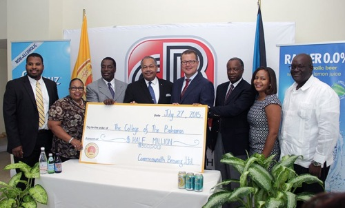 SCHOLARSHIP FUND ESTABLISHED between The College of The Bahamas (COB) and Commonwealth Brewery Ltd. with signing of a Memorandum of Understanding July 27, 2015 at the Harry C. Moore Library of The College of The Bahamas. Pictured from left: Dean, Faculty of Pure & Applied Sciences Dr. Carlton Watson; Dean, Social & Educational Studies Dr. Ruth Sumner; COB Council Vice-Chairman Dr. Earl Cash; COB President Dr. Rodney Smith; Commonwealth Brewery Managing Director Hans Neven; Commonwealth Brewery Chairman Julian Francis; COB Vice-President, Advancement, Davinia Blair; Ministry of Education Administrator/Scholarship and Educational Loans Division Reginald Saunders. (BIS Photo/Raymond A. Bethel, Sr.)