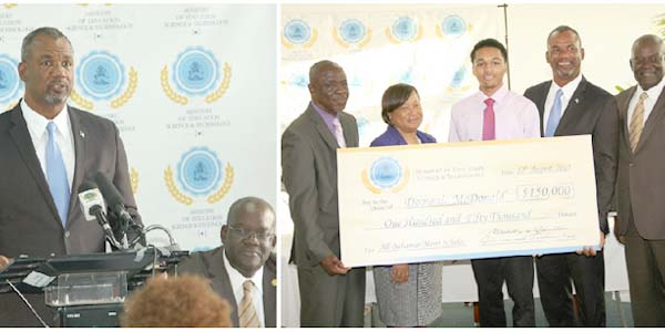 (LEFT) Minister of Education, Science and Technology the Hon. Jerome Fitzgerald addressing the All-Bahamas Merit Scholarship Awards Ceremony at the Thomas A. Robinson National Stadium conference room on Wednesday, August 12, 2015. (RIGHT) Pictured from left are Lionel Sands, Director of Education; Donella Bodie, Permanent Secretary; Domonic McDonald, 2015 All-Bahamas Merit Scholar; Minister of Education, Science and Technology the Hon. Jerome Fitzgerald; and Reginald Saunders, Administrator Scholarships and Loan Division, Ministry of Education, Science and Technology. (BIS Photos/Patrick Hanna)