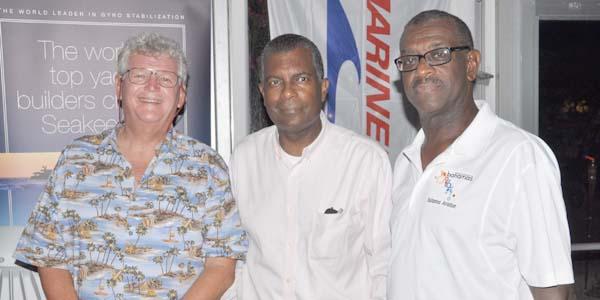 "Annual Bimini Lobster Bash – From left: Chris Finck of MarineMax, Minister Fred Mitchell, and Leonard ""Brave"" Stuart.  (BIS Photo/Vandyke Hepburn)"