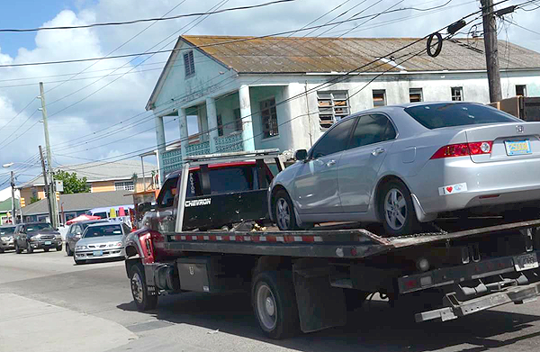 Vehicle taken away after a woman engaged a high-speed chase with police.