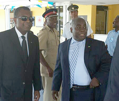 Deputy Philip Minister Hon. Philip Brave Davis and Minister Fred Mitchell on Exuma over the weekend.