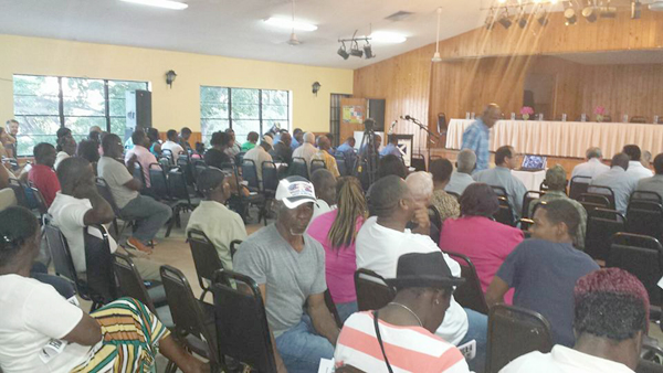 Residents at a town meeting in Exuma on Friday night.