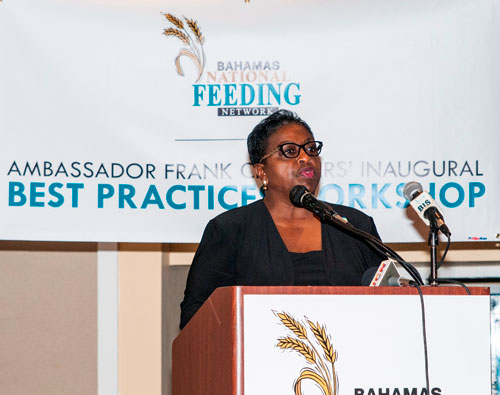Hon. Melanie Griffin, Minister of Social Services & Community Development applauds the organizers of the Frank Crothers Inaugural Best Practices Seminar hosted by the Bahamas National Feeding Network. (Photo by Derek Smith Jr.)