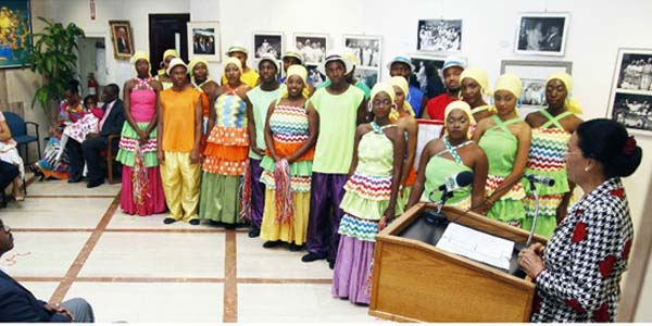 Dame Marguerite praises the 25 years of award-winning excellent performance of the Bahamas National Youth Choir at the choir's 25th Anniversary Exhibit at the Central Bank of The Bahamas, September 17, 2015.