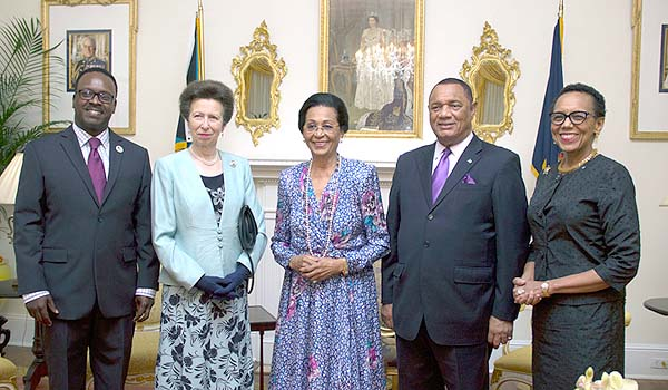 Her Excellency Dame Marguerite Pindling, Governor General of the Commonwealth of The Bahamas received HRH The Princess Royal, Princess Anne in a Welcome Reception at Government House on Sunday, September 27, 2015 attended by the Prime Minister the Rt. Hon. Perry G. Christie, Attorney General and Minister of Legal Affairs Sen. the Hon. Allyson Maynard Gibson, and Minister of Youth, Sports and Culture the Hon. Dr. Daniel Johnson. Pictured are: HRH The Princess Royal, Princess Anne, second left; HE Dame Marguerite Pindling, centre; Prime Minister Perry Christie, second right; Attorney General Allyson Maynard Gibson, right; and Minister Daniel Johnson, left. (BIS Photo/Letisha Henderson)