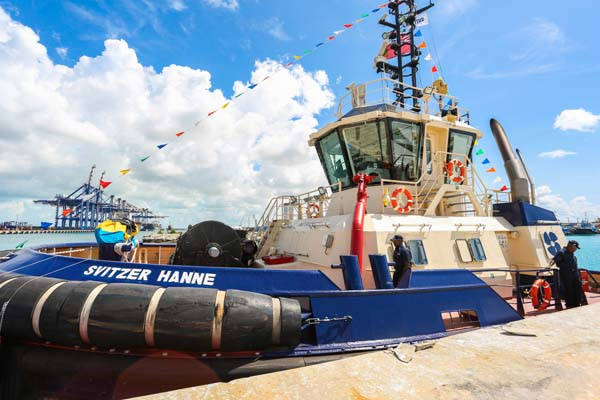 The Svitzer Hanne is one of three new tugboats the towage company added to its fleet this week. The latest additions bring its total Grand Bahama fleet to eight vessels. Svitzer held an official ceremony to commemorate the commissioning of the vessels on Wednesday at The Freeport Harbour. (Photo: Keen i Media Ltd.)