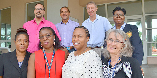 Contributors to the 21st Volume of International Journal of Bahamian Studies. From left top: Stephen Aranha, Assistant Professor, School of Social Sciences; Dr. Ian Bethell-Bennett, Dean, Faculty of Liberal and Fine Arts; William Fielding, Grant Writer and Dr. Berthamae Walker, College Librarian. From left front: Bernadette Bain, L.L.B. Programme, Lecturer; Antoinette Seymour, LIMS, Archivist; Shanada Hinsey, LIMS, Systems Librarian and Virginia Balance, Nursing and Health Sciences Librarian and IJBS Managing Editor.