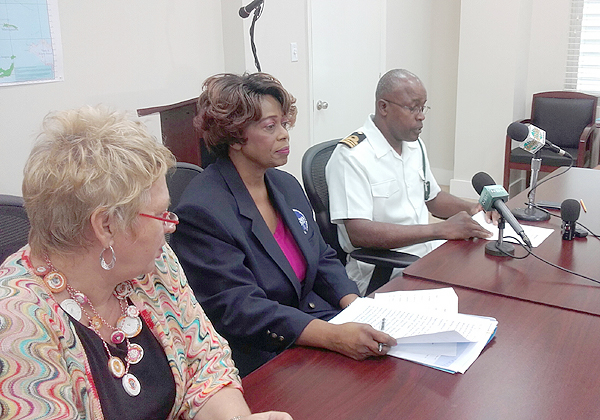 The National Emergency Management Agency, NEMA, on Monday, October 19, 2015 held a press conference to update the public on relief efforts following the passage of Hurricane Joaquin. Pictured from left are Dr. Gerry Eijkemans, PAHO/ WHO Representative for The Bahamas & Turks and Caicos Islands; Chrystal Glinton, First Assistant Secretary, NEMA; and Lt. Cmdr. Frederick Brown, Royal Bahamas Defence Force.  (Photo/NEMA)